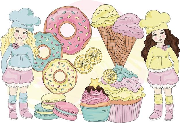 Sweet life color vector illustration set