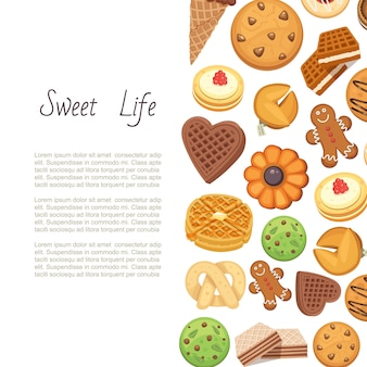 Sweet life with cookies backgrund of different chocolate and biscuit chip cookies, pain d'épices et gaufre, illustration.