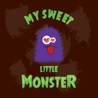 Sweet little monstre avec amour yeux