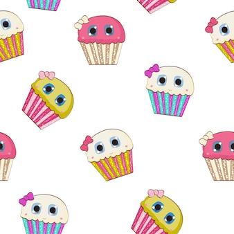 Sweet savoureux cupcake seamless pattern vector illustration eps10