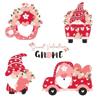 Sweet valentine gnome en rose avec collection de fleurs, plat de dessin animé de valentine, valentine