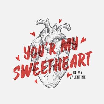 Sweetheart valentines day abstract vector carte de voeux, illustration de vêtements, affiche ou surface de vacances