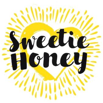 Sweetie miel main lettrage calligraphique