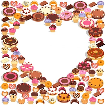 Sweets formant un coeur