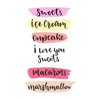 Sweets lettrage élément de design vectoriel. lettrage dessiné à la main de vecteur pour la confiserie ou la décoration de menu