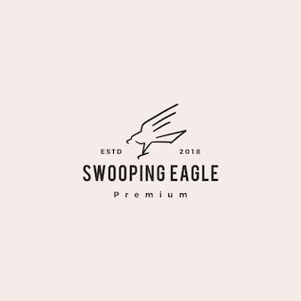 Swooping aigle logo icône illustration vectorielle doodle