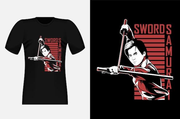 Sword samurai street wear t-shirt design illustration