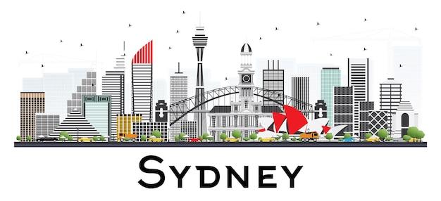 Sydney australie skyline avec bâtiments gris isolé sur fond blanc. illustration vectorielle. concept de voyage d'affaires et de tourisme à l'architecture moderne.