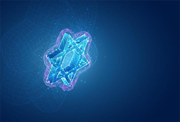Symbole 3d, objet volumétrique sur fond bleu