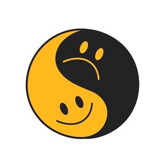 Symbole abstrait yin yang avec un sourire heureux et un visage triste. icône d'illustration de doodle cartoon dessiné à la main de vecteur. isolé sur fond blanc. impression yin yang pour t-shirt, concept d'affiche