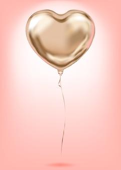 Symbole d'amour doré de ballon en forme de coeur de feuille d'or rose