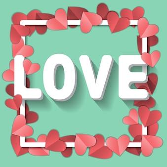 Symbole de l'amour sur fond bleu