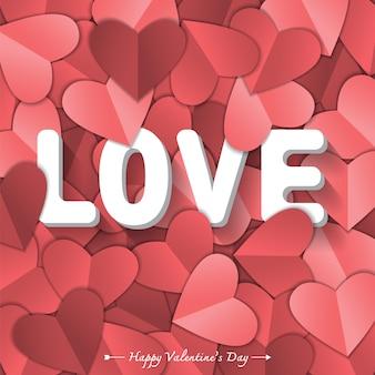 Symbole de l'amour sur fond rouge doux