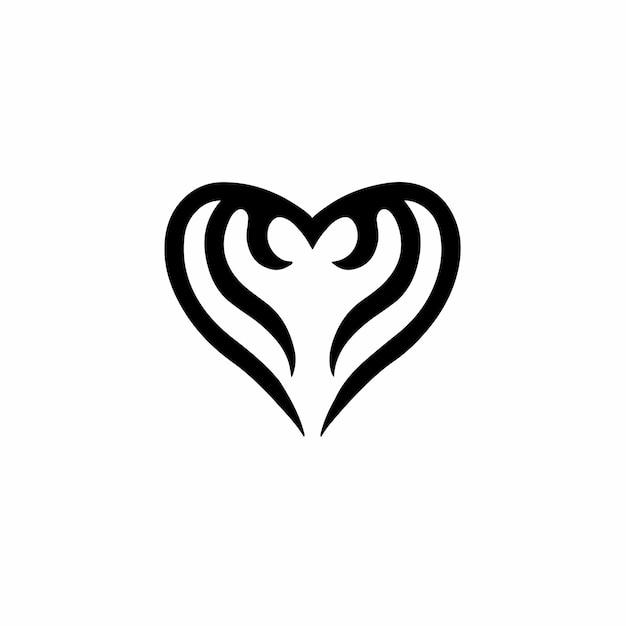 Symbole amour logo conception tatouage tribal pochoir illustration vectorielle