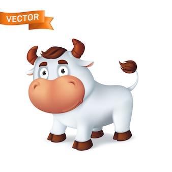 Symbole animal drôle de bœuf argenté de l'année dans le calendrier du zodiaque chinois. dessin animé 3d du taureau souriant isolé sur fond blanc