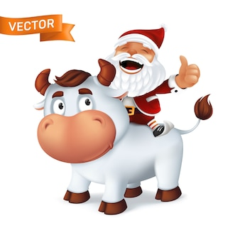 Symbole animal drôle de bœuf argenté de l'année dans le calendrier du zodiaque chinois avec le père noël sur le dos. caricature de taureau souriant et personnage riant isolé sur fond blanc