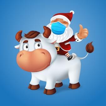 Symbole animal drôle de bœuf argenté de l'année dans le calendrier du zodiaque chinois