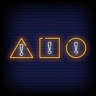 Symbole d'attention style d'enseignes au néon