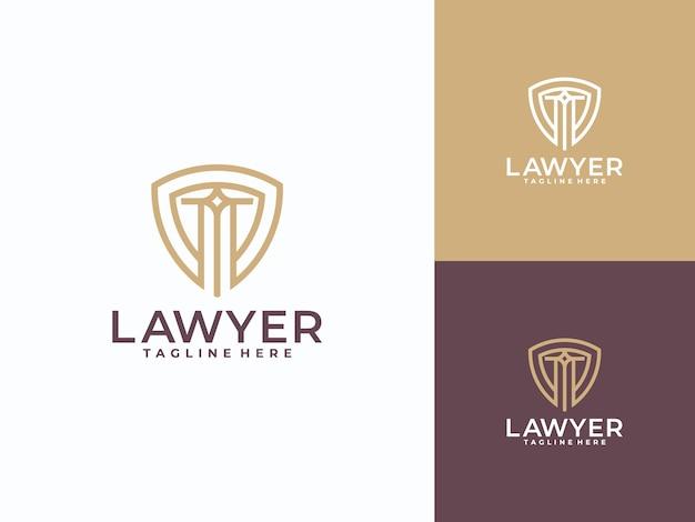Symbole avocat avocat avocat modèle de logo linéaire