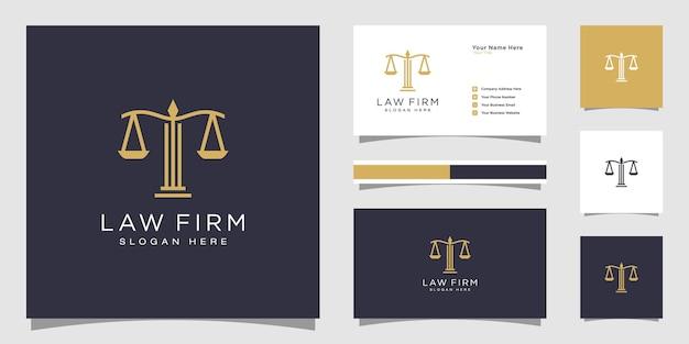 Symbole avocat avocat avocat modèle style linéaire entreprise logotype et carte de visite