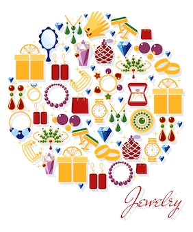 Symbole de bijoux en or. boucles d'oreilles et montre, bague et collier, pendentifs et boutons de manchette. illustration vectorielle