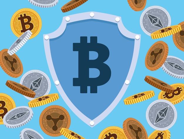 Symbole bitcoin en bouclier avec des pièces de monnaie crypto design illustration vectorielle