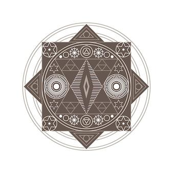 Symbole boho ésotérique spirituel d'astrologie géométrique isolée