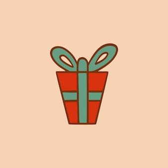 Symbole boîte cadeau noël médias sociaux post décoration noël illustration vectorielle
