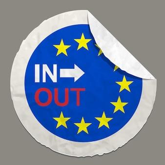 Symbole britannique de concepts de référendum de brexit sur une étiquette de papier