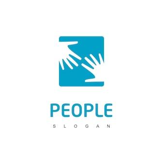 Symbole de charité de personnes de logo de main