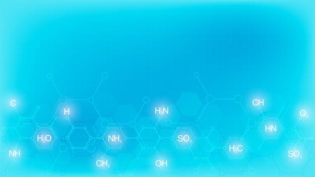 Symbole de chimie abstraite sur fond bleu doux avec des formules chimiques et des structures moléculaires, concept et idée pour la technologie de la science et de l'innovation.