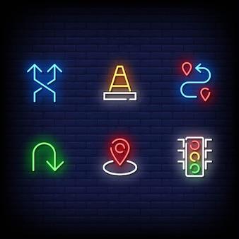Symbole de la circulation style des enseignes au néon