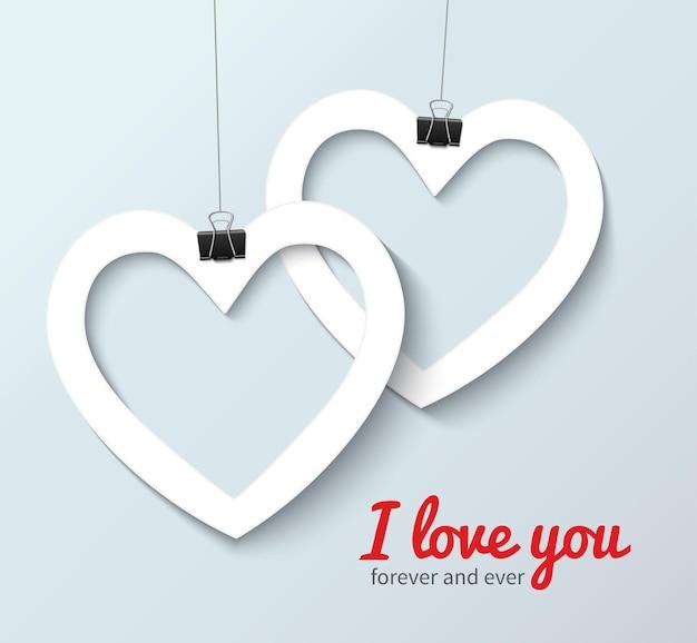 Symbole de coeur d'amour de vecteur. modèle de carte de deux coeurs en papier croisé avec texte