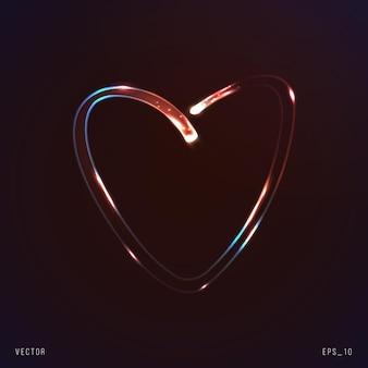 Symbole de coeur au néon avec des particules en mouvement d'illustration vectorielle légère