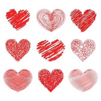Symbole de coeur dessiné à la main contient du texte ou du contenu de message pour la saint-valentin