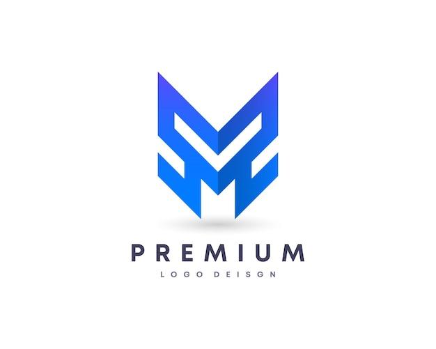 Symbole de conception de logo vectoriel lettre m initiale de style dégradé attrayant coloré pour votre marque et com
