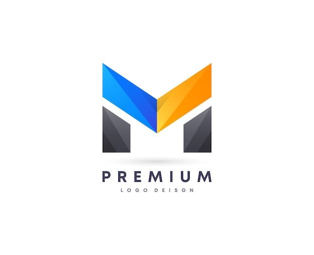 Symbole de conception de logo vectoriel lettre m initiale de style dégradé attrayant coloré pour votre marque