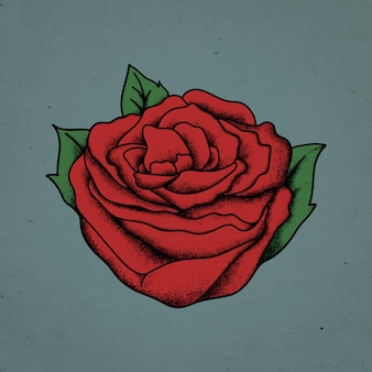 Symbole de conception de tatouage flash old school vintage rose rouge