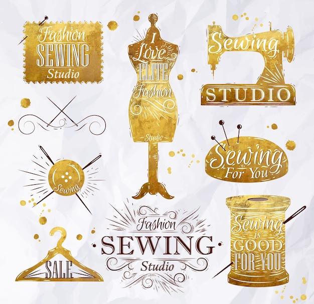 Symbole de couture en lettrage de style rétro vintage or