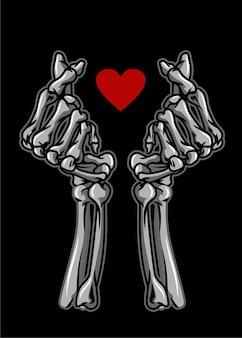 Symbole de crâne de main d'amour