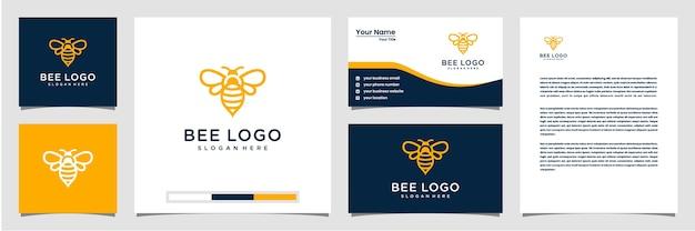 Symbole créatif du logo abeille, carte de visite et papier à en-tête