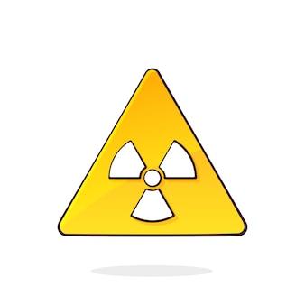 Symbole de danger de rayonnement ionisant rayons x énergétiques panneau d'avertissement triangulaire jaune signal de danger