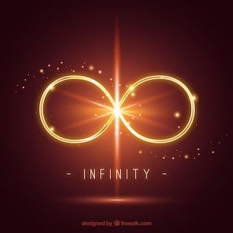 Symbole de l'infini avec effet de lumière parasite