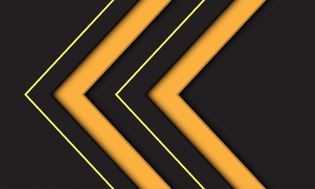 Symbole de direction flèche jaune double abstraite sur fond gris foncé.