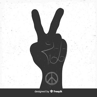 Symbole de doigts de paix dessinés à la main belle