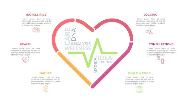 Le symbole du cœur était composé de lignes multicolores et entouré d'icônes et de zones de texte. concept de soins de santé, de bien-être et de services médicaux.