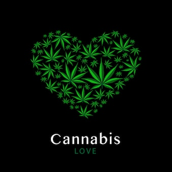 Symbole du cœur fabriqué à partir de feuilles vertes de marijuana