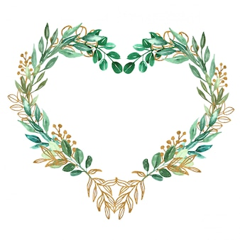 Symbole du coeur fait de feuilles de verdure et aquarelle or