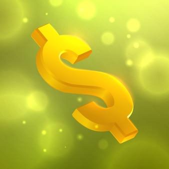 Symbole du dollar sur l'abstrait avec effet bokeh