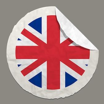 Symbole du drapeau anglais sur une étiquette en papier